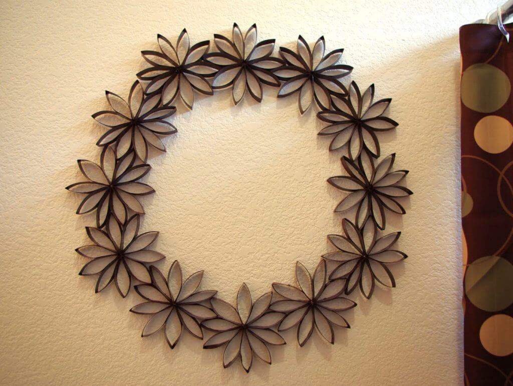 1 decor paper flower wreath happiness is homemade toilet paper flower wreath jeuxipadfo Choice Image
