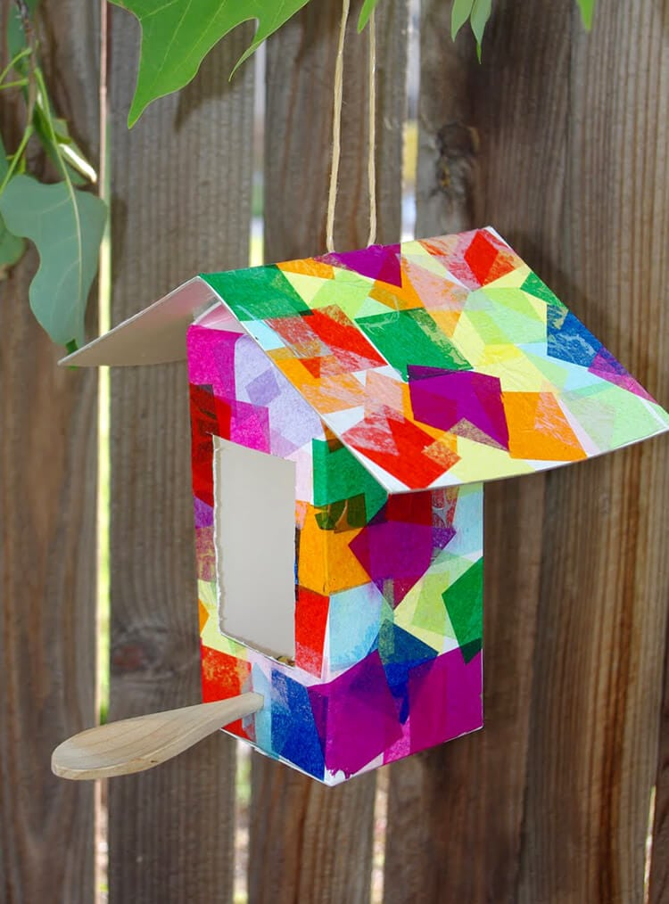 Milk carton birdhouse bird feeder kids craft happiness for How to make homemade bird houses