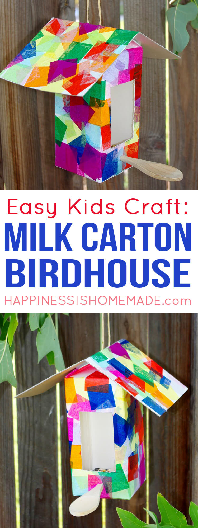 Recycled milk carton birdhouses and bird feeders are a fun quick and easy kids craft that anyone can make - perfect for kids of all ages!