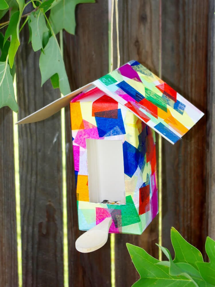 Recycled milk carton birdhouses and bird feeders are an easy kids craft that anyone can make! Perfect for kids of all ages!