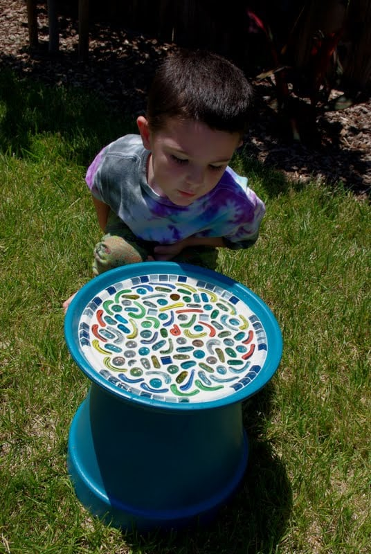 Kid Made Mosaic Birdbath