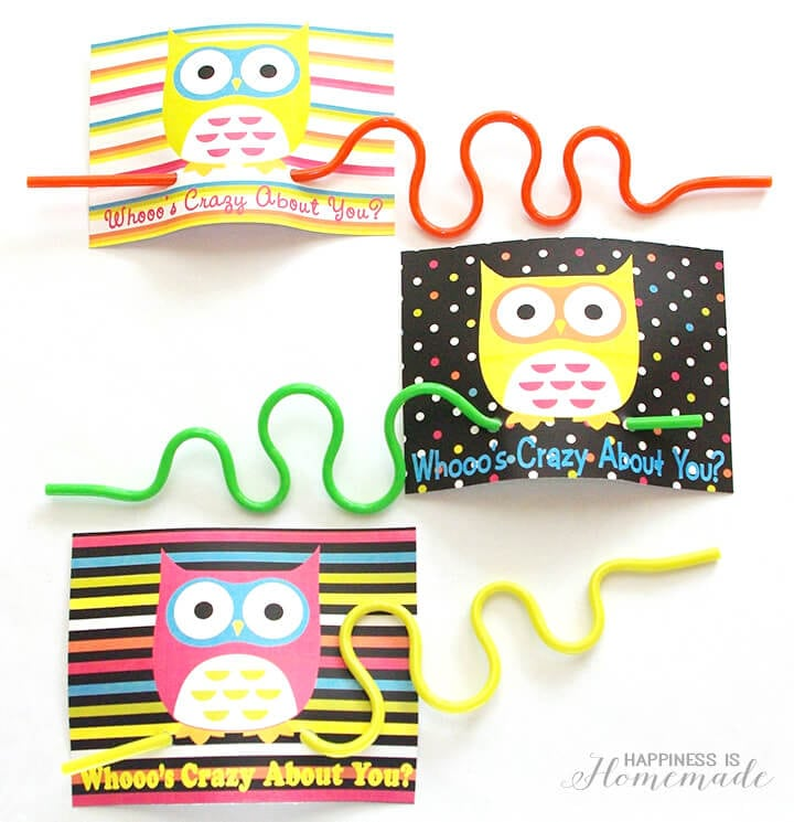 Crazy Straw and Owl Valentines Day Cards
