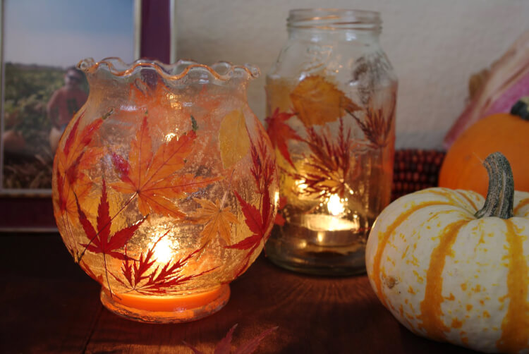 Fall leaf lanterns tutorial happiness is homemade for Schaufensterdekoration schmuck