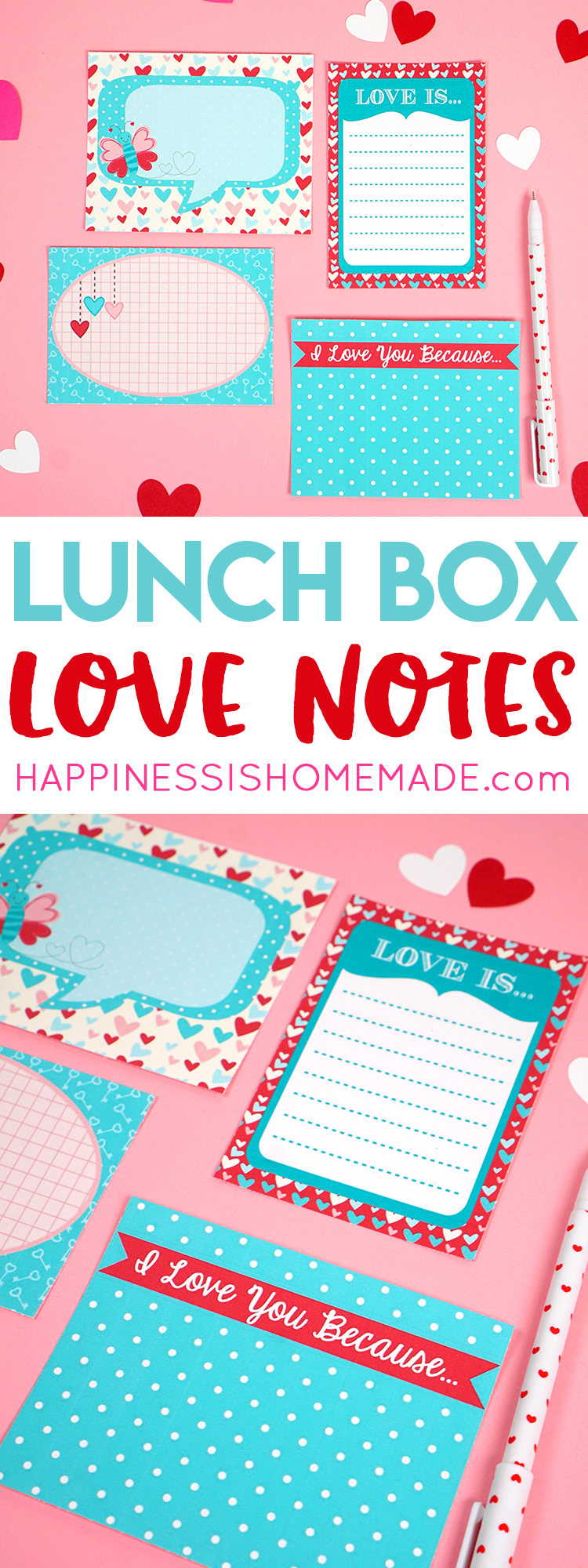 Printable love notes are perfect for Valentine's Day or any day of the year! Slip them into lunch boxes, purses, pockets, or backpacks for a sweet reminder of your love!