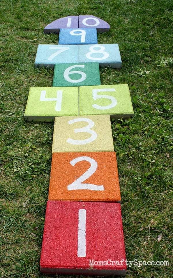 Easy Diy Rainbow Paver Hopscotch Hiness Is Homemade