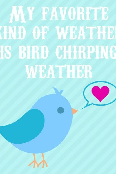 Bird Chirping Weather Cartoon Print