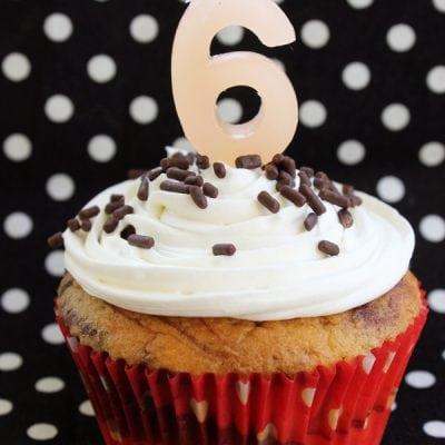 Chocolate Vanilla Swirled Birthday Cupcakes