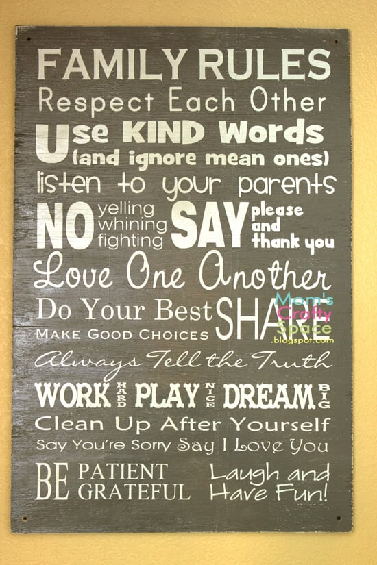 Easy Diy Family Rules Artwork Happiness Is Homemade