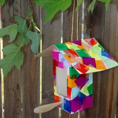 Milk Carton Birdhouse + Bird Feeder Kids Craft