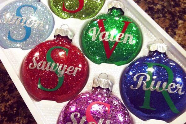 Personalized Glitter Ornaments