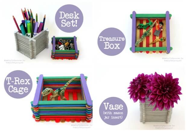 kids craft  popsicle stick boxes