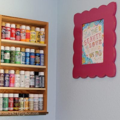 Repurposed: Drawer to Craft Paint Storage Shelf