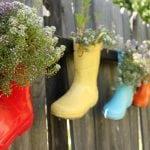 Recycled Rainboot Planters