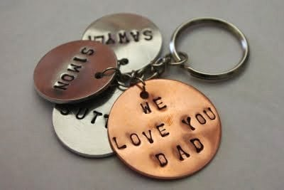 Stamped Metal Keychain for Father's Day