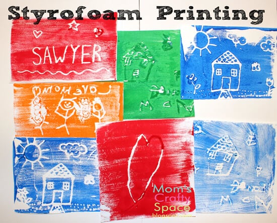 Kids Craft Styrofoam Printing Happiness Is Homemade
