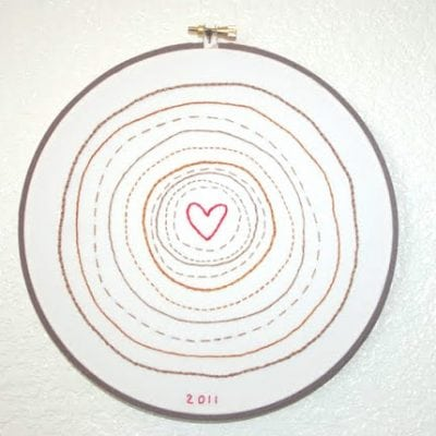 Tree Rings Embroidery Art