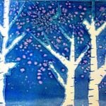 Kids Art: Watercolor Winter Trees