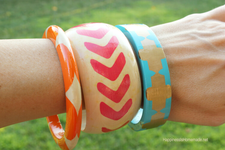 Painted Wood Bangle Bracelets