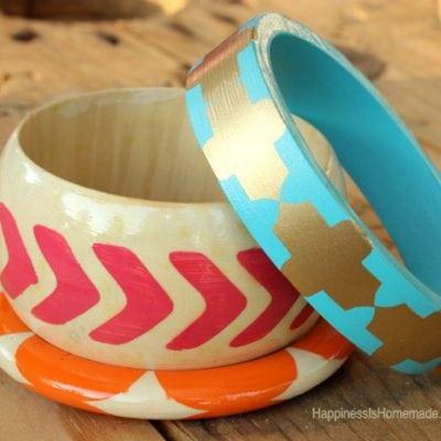 15 Minute Crafts: Stenciled Wood Bangle Bracelets