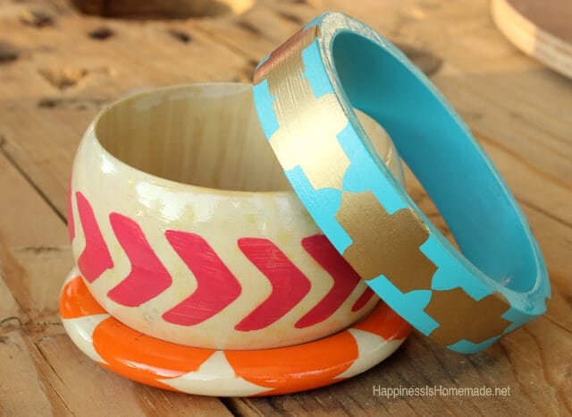 Painted Wood Bracelets