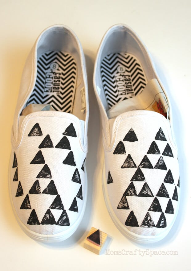 Stamped Puff Paint Geometric Patterned Shoes