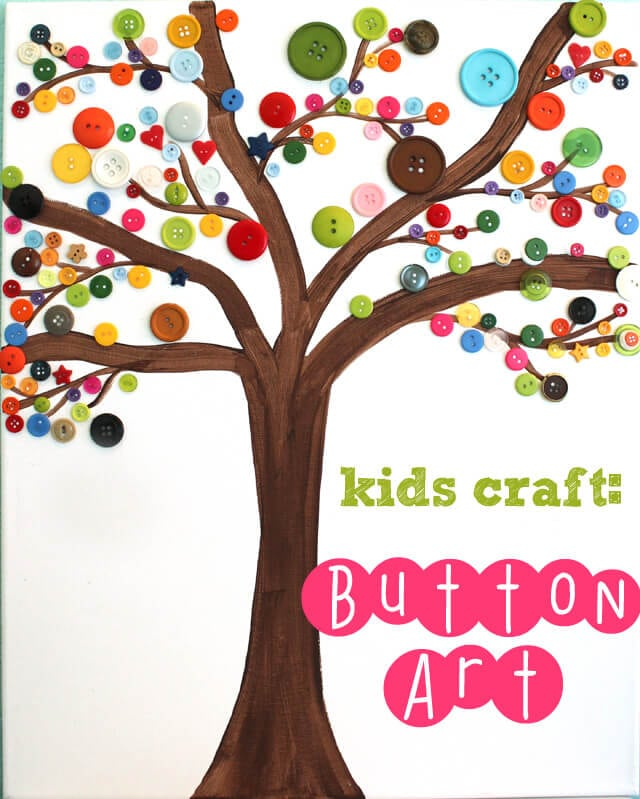 Kids Craft Button Art Happiness Is Homemade