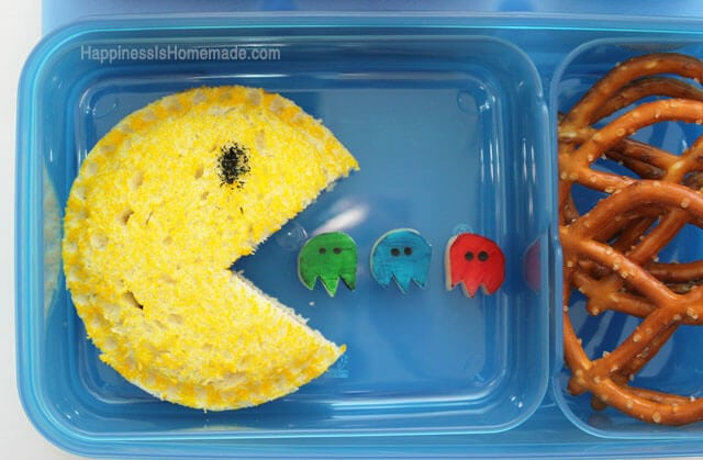 PacMan Sandwich with String Cheese Slice Ghosts