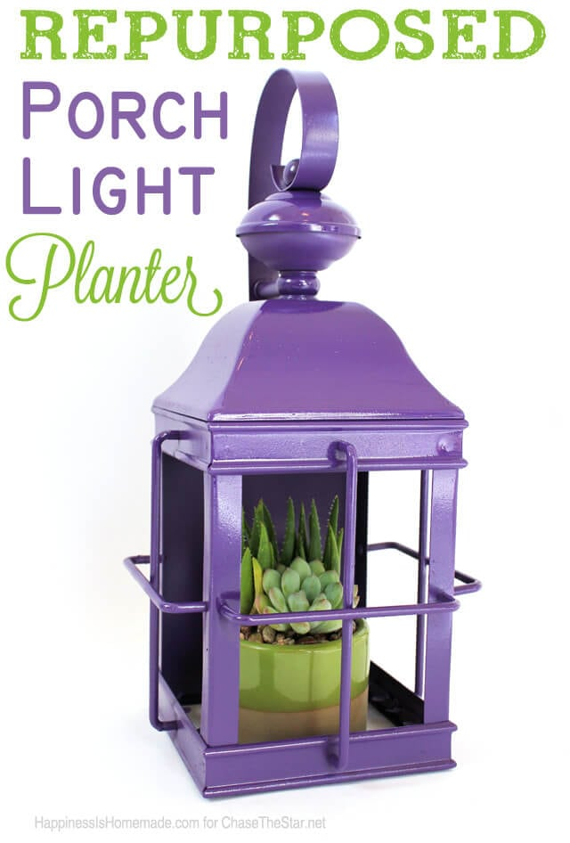 Repurposed Porch Light Planter