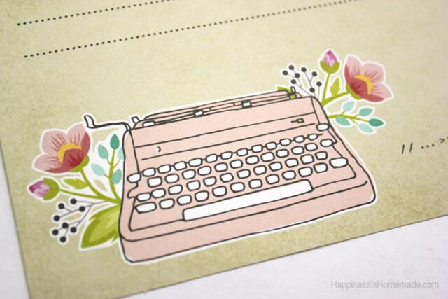 Typewriter Fifth and Frolic Project Life Card