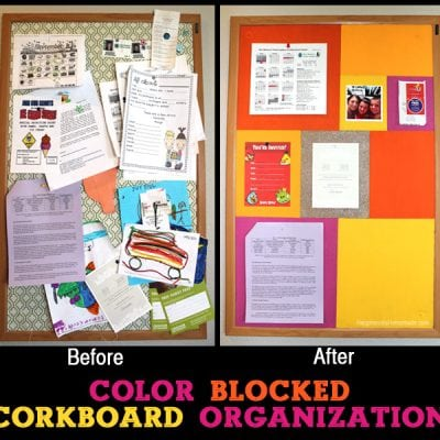Color Blocked Corkboard Organization