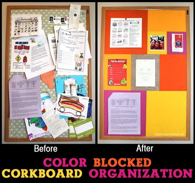 Color Blocked Corkboard Organization