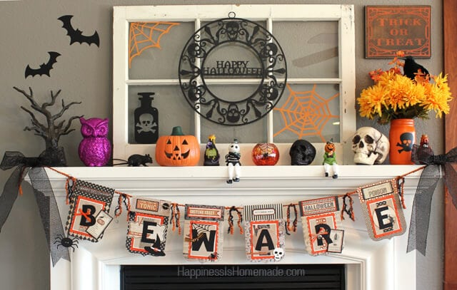 Halloween Mantel and Banner