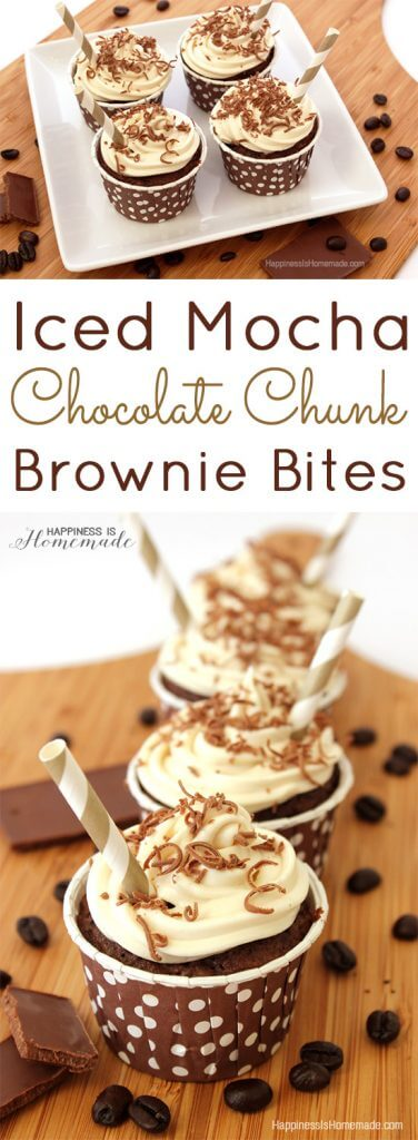 Iced Mocha Chocolate Chunk Brownie Bites