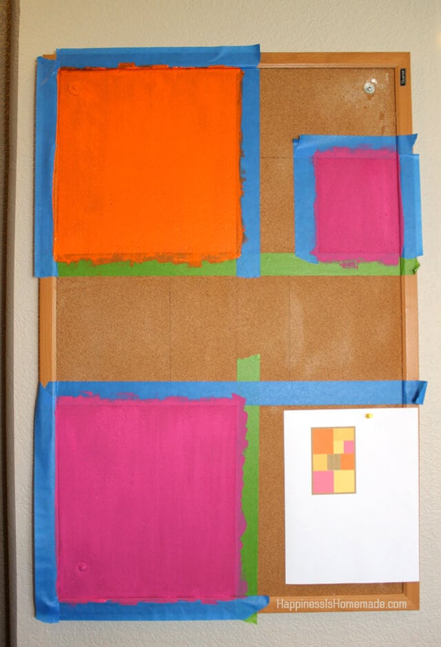 Painting a Color Blocked Cork Board