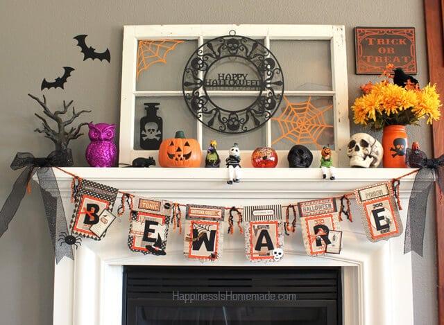 Paper Halloween Beware Banner