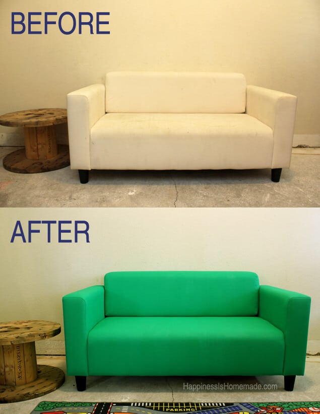 Before and After Painted Sofa