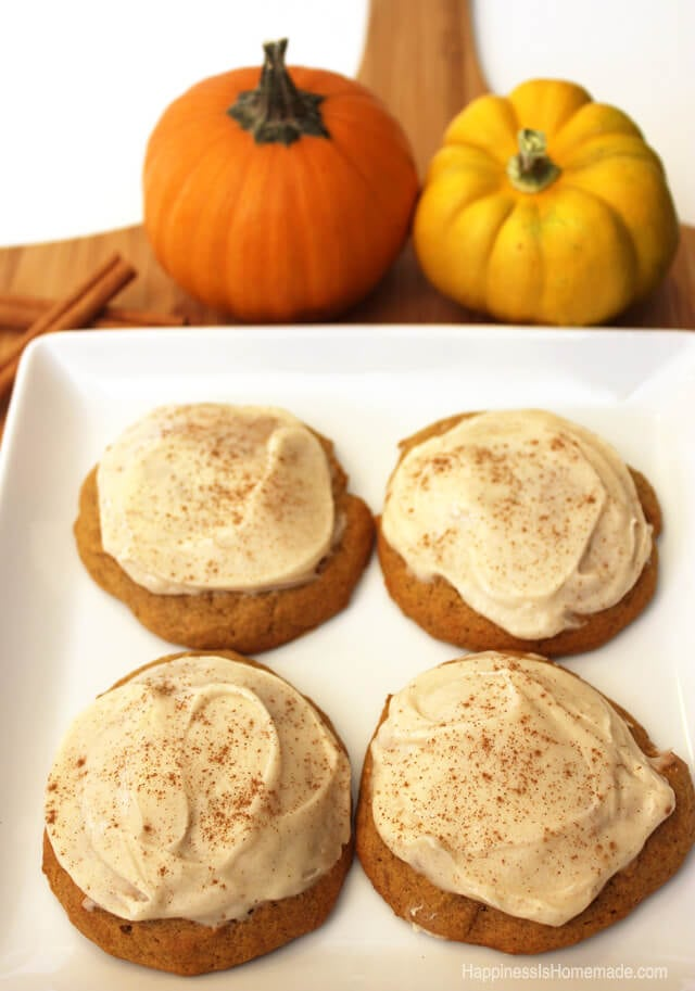 Pumpkin Spice Cookies Topped With Cinnamon Cream Cheese Icing #FreshFinds #shop