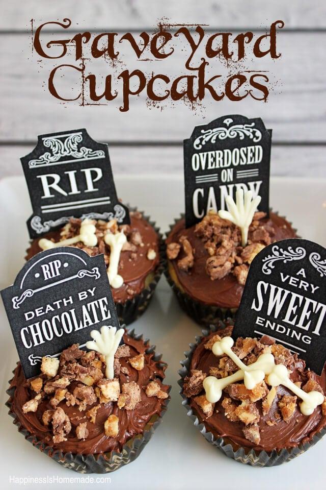 Spooky Graveyard and Bones Cupcakes #SpookyCelebration #shop
