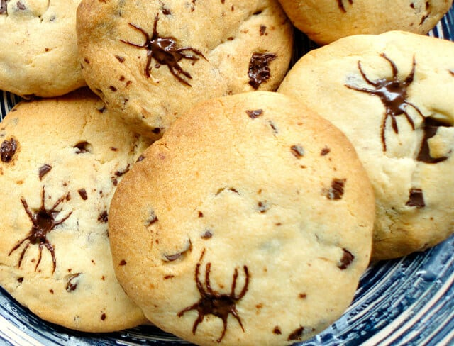 Halloween Chocolate Chip Spider Cookies - Happiness is ...