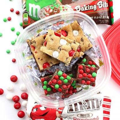 M&M's Fudge & Peppermint Cookie Brownie Bars