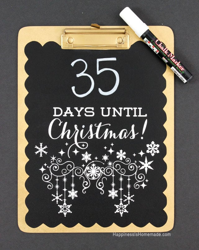Christmas Countdown Chalkboard Clipboard