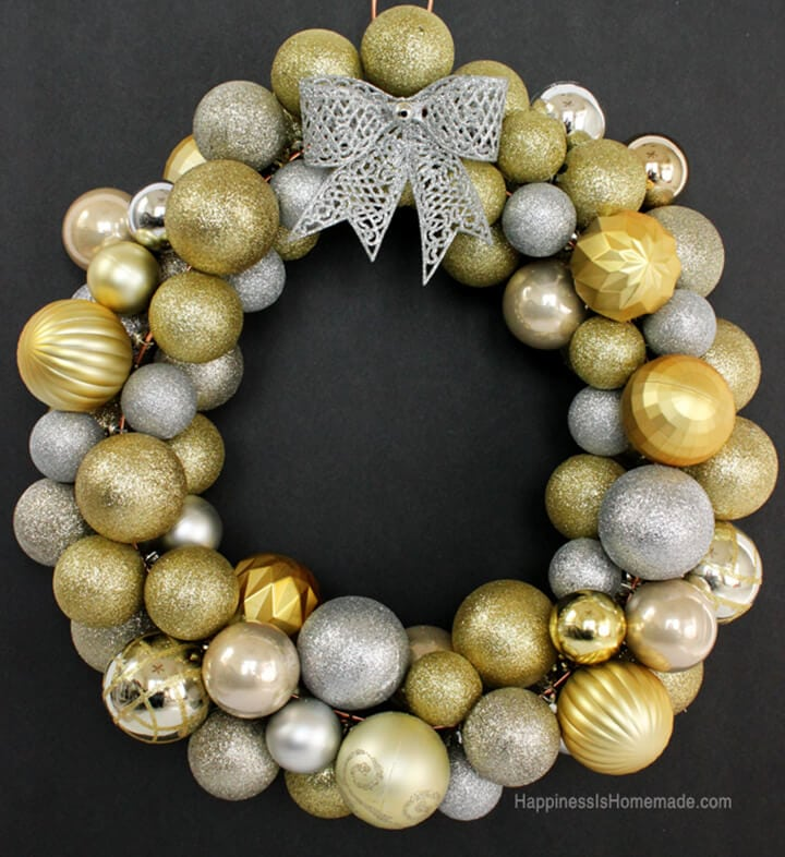 DIY Christmas Ornament Wreath Tutorial - Happiness is Homemade