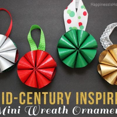 Mid-Century Inspired Mini Wreath Christmas Ornaments