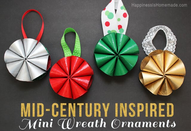 Mid-Century Inspired Modern Mini Wreath Christmas Ornaments