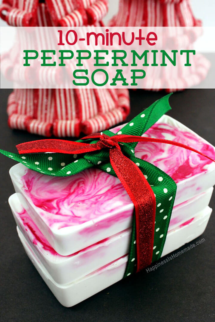 10 minute diy holiday gift idea peppermint soap happiness is homemade