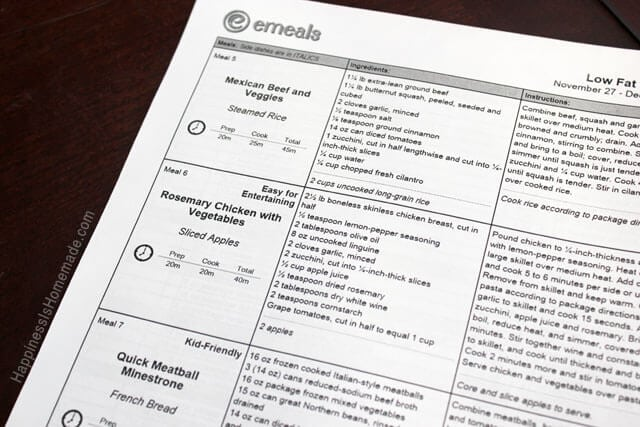 eMeals Low Fat Weekly Menu Planning Guide