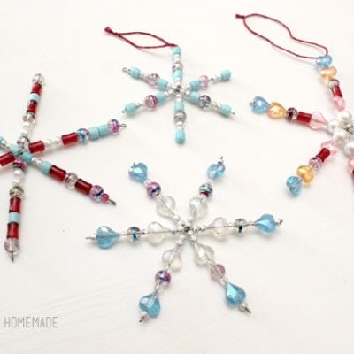 Kids Christmas Craft: Beaded Snowflake Ornaments