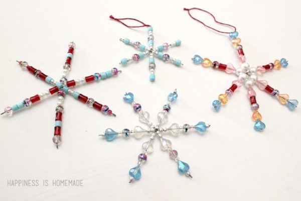 Beaded Snowflake Ornaments - Kids Christmas Craft