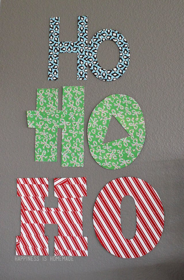 Decorative Christmas Wall Words with Holiday Duck Tape