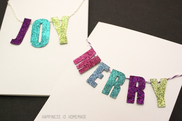 Glittered Chipboard Banner Holiday Card